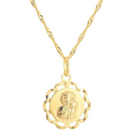Złoty medalik pr. 585 M.B. Częstochowska kwiat ażur ZM046