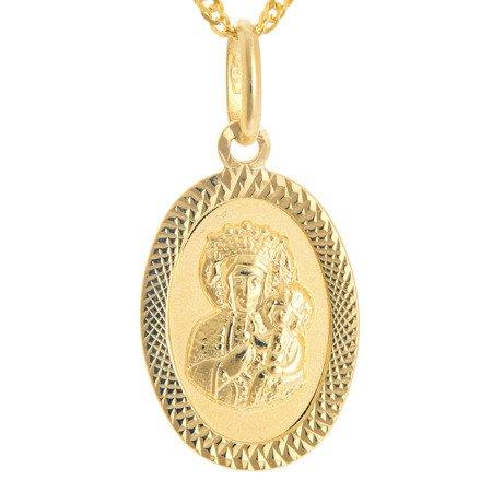 Złoty medalik pr. 585 M.B. Częstochowska owal ramka ZM029