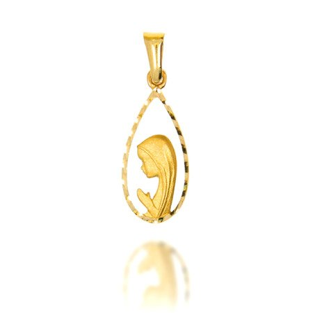 Złoty medalik pr. 585 Madonna ażurowa łezka ZM018