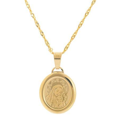 Złoty medalik pr. 585 Madonna z dzieciątkiem owal ramka ZM034