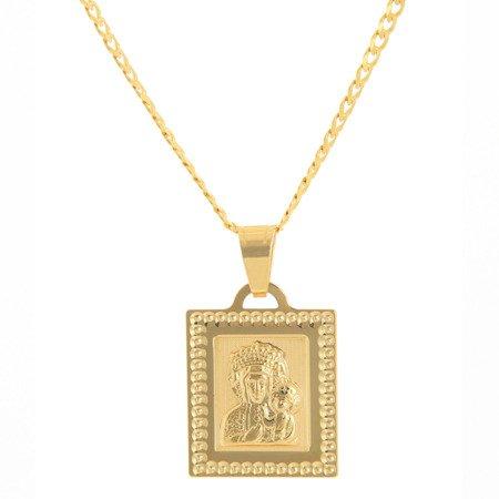 Złoty medalik pr. 585 Matka Boska Częstochowska kwadrat  ZM081