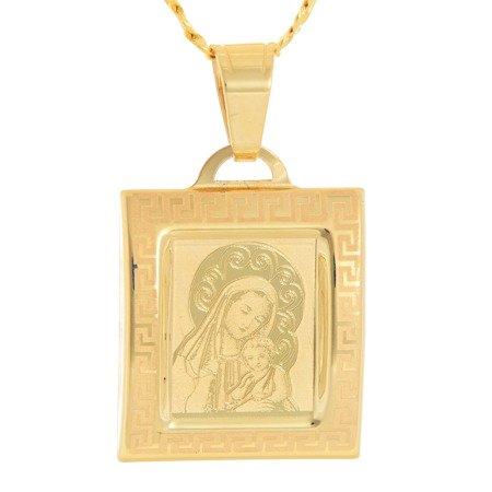 Złoty medalik pr. 585 Matka Boska z dzieciątkiem kwadrat  ZM082