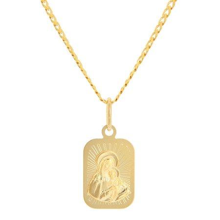 Złoty medalik pr. 585 Matka Boska z dzieciątkiem  prostokąt ZM084