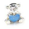 473-3287 Skarbonka dziecięca z masy perłowej - niebieska, miś