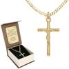Zestaw Złoty krzyż z łańcuszkiem pancerka w opakowaniu ozdobnym z grawerem pr. 585 ZK063/ZL020/P3/BA-6
