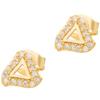 Złote kolczyki pr. 585 Trójkąt ażur cyrkonie sztyft ZA044